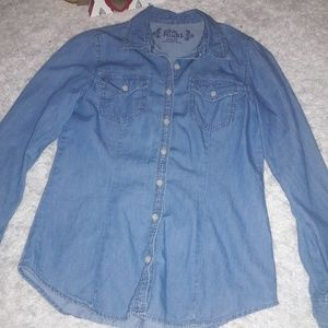 ❤Mudd girl's denim button down shirt